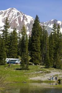 RV camping near a mountain lake in Southwest Colorado