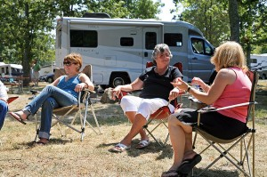 Group meeting at campground