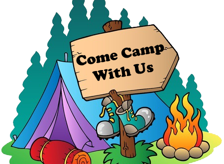 Come camp with us sign