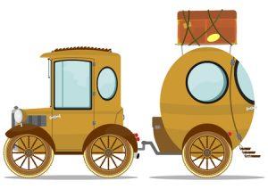 funny vintage car with a caravan