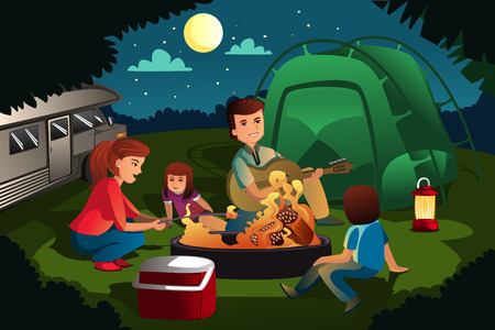 family camping in the forest
